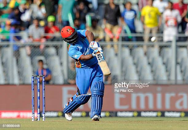 Mohammad Shahzad of Afghanistan bats during the ICC World Twenty20 India 2016 match between South Africa and Afghanistan at the Wankhede stadium on...