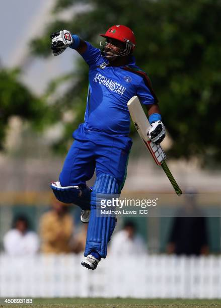 Mohammad Shahzad of Afghanistan celebrates his teams win agasint Bermuda during the ICC World Twenty20 Qualifier match between Afghanistan and...