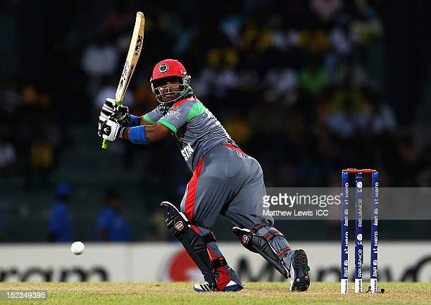 Mohammad Shahzad of Afghanistan edges the ball towards the boundary during the ICC World Twenty20 match Group A match between India and Afghanistan...