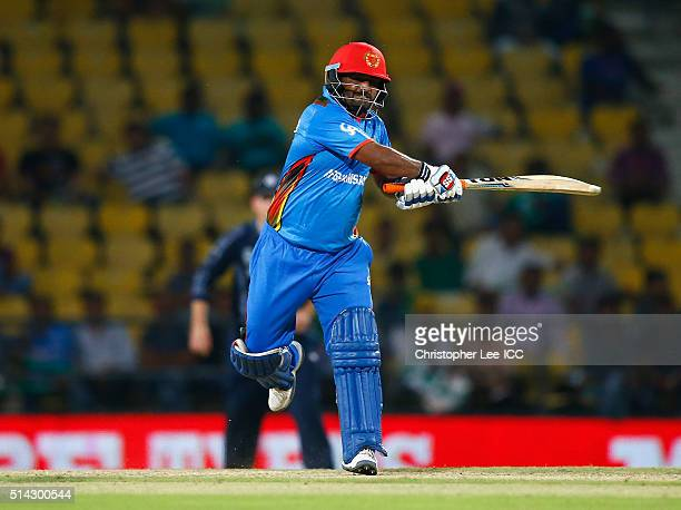Mohammad Shahzad of Afghanistan in action during the ICC Twenty20 World Cup Group B match between Scotland and Afghanistan at the Vidarbha Cricket...