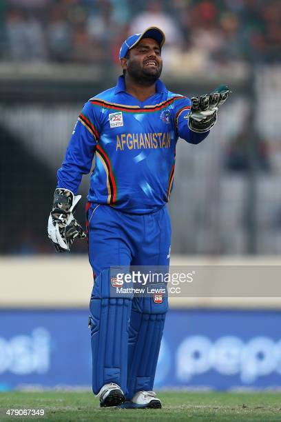 Mohammad Shahzad of Afghanistan in action during the ICC World Twenty20 Bangladesh 2014 match between Bangladesh and Afghanistan at the ShereBangla...