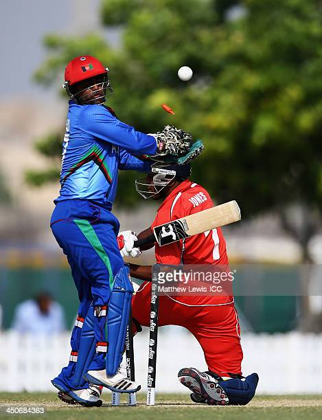 Mohammad Shahzad of Afghanistan looks on after Malachi Jones of Bermuda is bowled by Samiullah Shenwari during the ICC World Twenty20 Qualifier match...