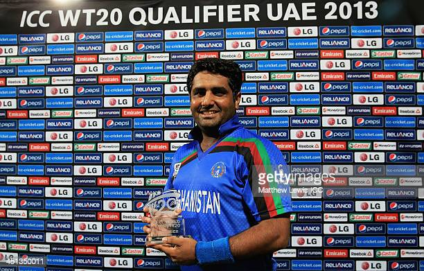 Mohammad Shahzad of Afghanistan pictured with the 'Man of the Match' award after the ICC World Twenty20 Qualifier between Afghanistan and Nepal at...