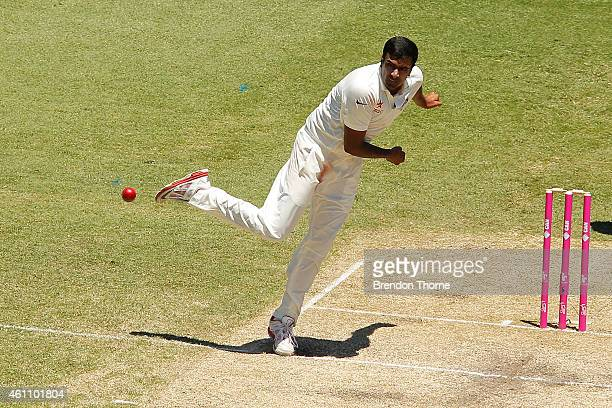 Mohammad Shami of India bowls during day two of the Fourth Test match between Australia and India at Sydney Cricket Ground on January 7 2015 in...