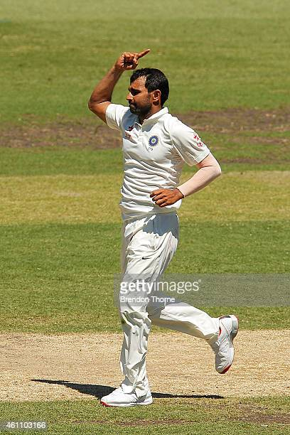 Mohammad Shami of India celebrates after claiming the wicket of Shaun Marsh of Australia during day two of the Fourth Test match between Australia...