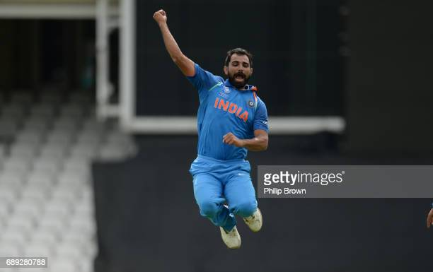 Mohammad Shami of India celebrates after dismissing Neil Broom of New Zealand during the ICC Champions Trophy Warmup match between India and New...