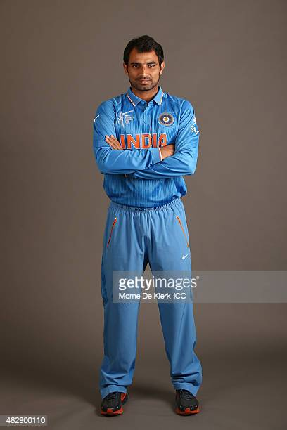 Mohammad Shami poses during the India 2015 ICC Cricket World Cup Headshots Session at the Intercontinental on February 7 2015 in Adelaide Australia