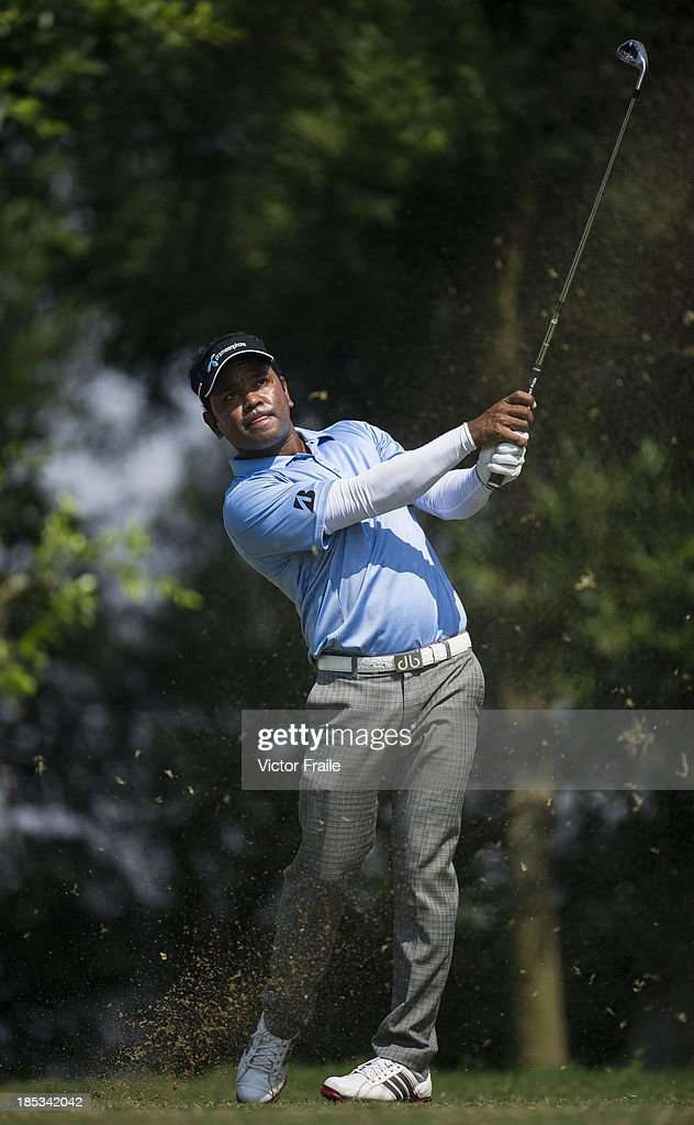 Mohammad Siddikur of Bangladesh tees off on the 6th hole during day three of the Venetian Macau Open at Macau Golf and Country Club on October 19, 2013 in Macau, Macau.