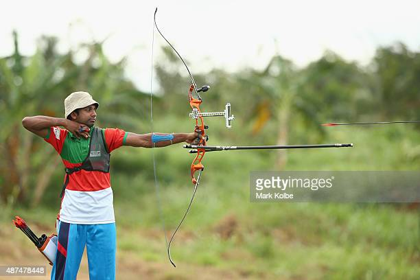Mohammad Tamimul Islam of Bangladesh competes in the recurve bow individual boys archery final at the Tuanaimato Sports Facility on day four of the...