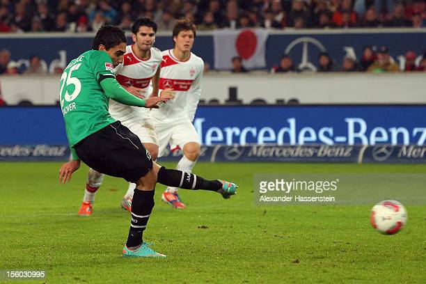 Mohammed Abdellaoue of Hannover scores the 4th team goal with a penalty kick during the Bundesliga match between VfB Stuttgart and Hannover 96 at...