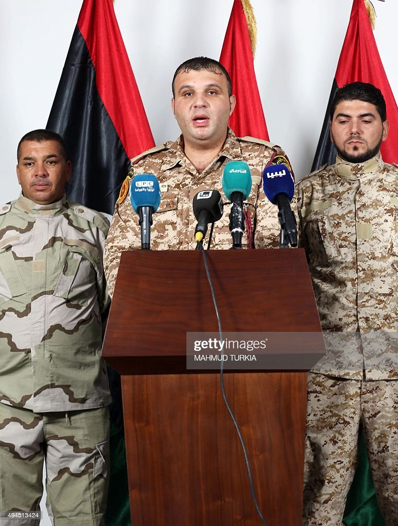 Mohammed Abdul Kafi first lieutenant and spokesman for the Ministry of Defense of Libya speaks during a press conference in the capital Tripoli on...