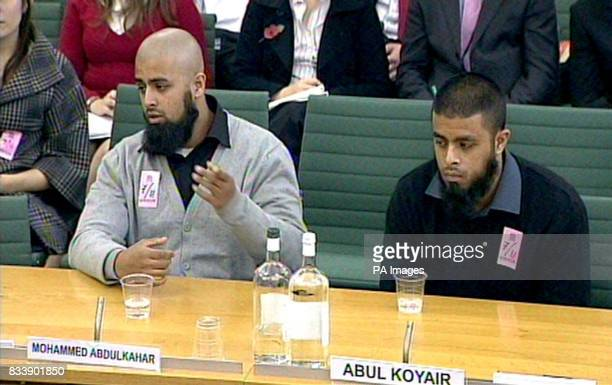 Mohammed Abdul Kahar and Abul Koyair the two brothers arrested in the infamous Forest Gate terror raid give evidence at a Home Affairs Select...