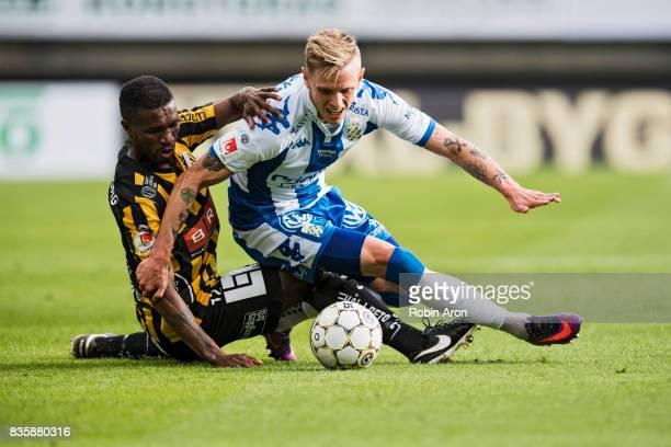 Mohammed Abubakari of BK Hacken and Soren Rieks of IFK Goteborg battles for the ball during the Allsvenskan match between IFK Goteborg and BK Hacken...