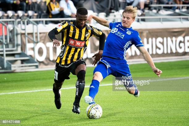 Mohammed Abubakari of BK Hacken is tackled by Eric Bjorkander of GIF Sundsvall during the Allsvenskan match between BK Hacken and GIF Sundsvall at...