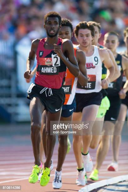 Mohammed Ahmed who finished fourth for Canada in the 10000m at the 2016 Rio de Janeiro Olympics leads the pack en route to a victory in the men's...
