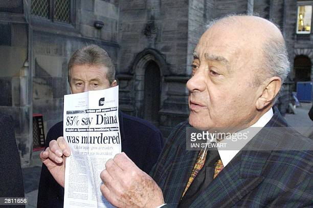 Mohammed Al Fayed arrives at court in Edinburgh 15 December 2003 to present a request for a public investigation into the death of Princess Diana and...