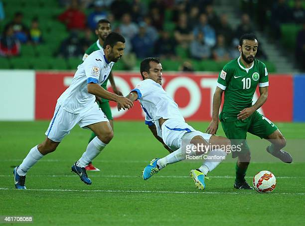 Mohammed Al Sahlawi of Saudi Arabia looks to control the ball during the 2015 Asian Cup match between Uzbekistan and Saudi Arabia at AAMI Park on...