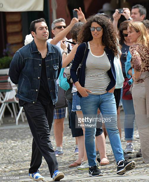 Mohammed Al Turki and Afef Jnifen are seen on July 4 2014 in Portofino Italy