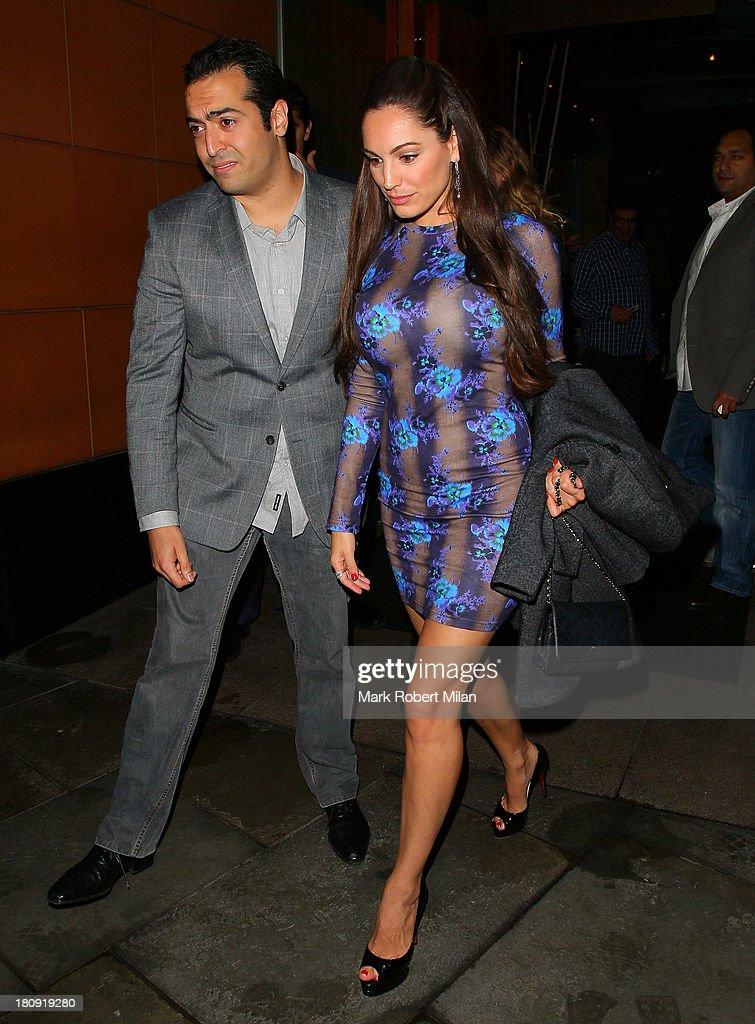 Mohammed Al Turki and Kelly Brook leaving Zuma restaurant on September 17, 2013 in London, England.