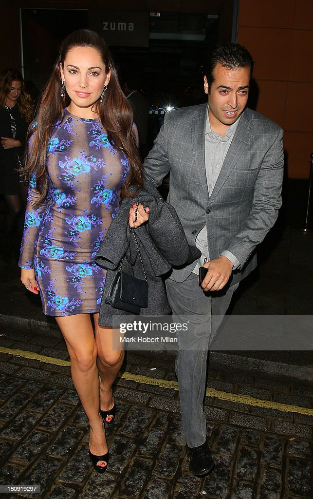 Mohammed Al Turki and Kelly Brook leaving Zuma restaurant on September 17, 2013 in London, England.