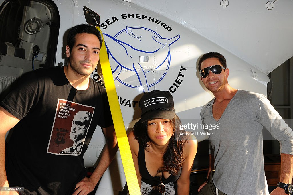 Mohammed Al Turki, Michelle Rodriguez and Hamza Talhouni visit The Sea Shepard's Steve Irwin Vessel during The 64th Annual Cannes Film Festival on May 20, 2011 in Cannes Harbor, France.