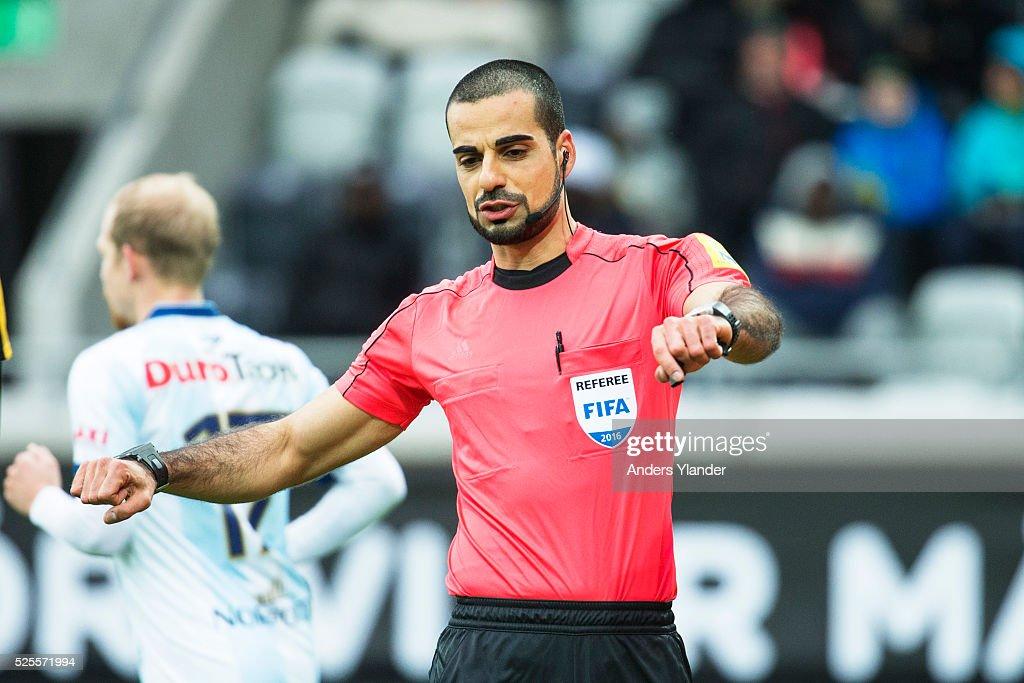 Mohammed Al-Hakim, referee, in action during the Allsvenskan match between BK Hacken and Gefle IF at Bravida Arena on April 28, 2016 in Gothenburg, Sweden.