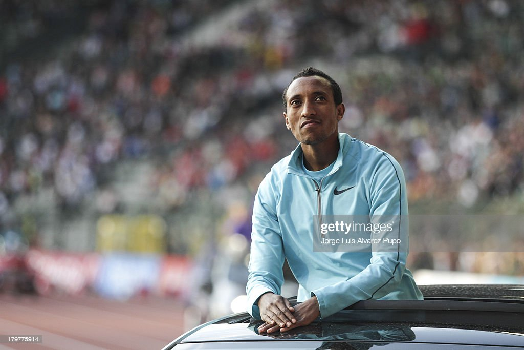 Mohammed Aman from Ethiopia is introduced to the fans during the 2013 Belgacom Memorial Van Damme IAAF Diamond League meet at The King Baudouin Stadium on September 6, 2013 in Brussels, Belgium.