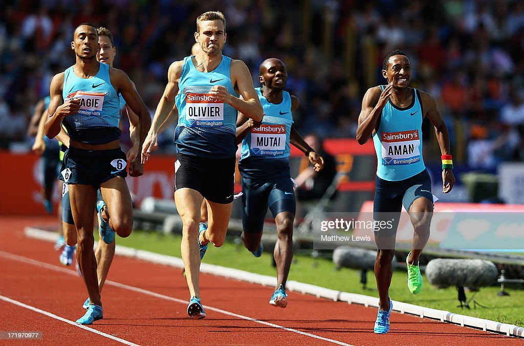 <a gi-track='captionPersonalityLinkClicked' href=/galleries/search?phrase=Mohammed+Aman&family=editorial&specificpeople=7149144 ng-click='$event.stopPropagation()'>Mohammed Aman</a> (R) of Ethiopia breaks clear to win the Mens 800m Final during the Sainsbury's Grand Prix Birmingham IAAF Diamond League at Alexander Stadium on June 30, 2013 in Birmingham, England.