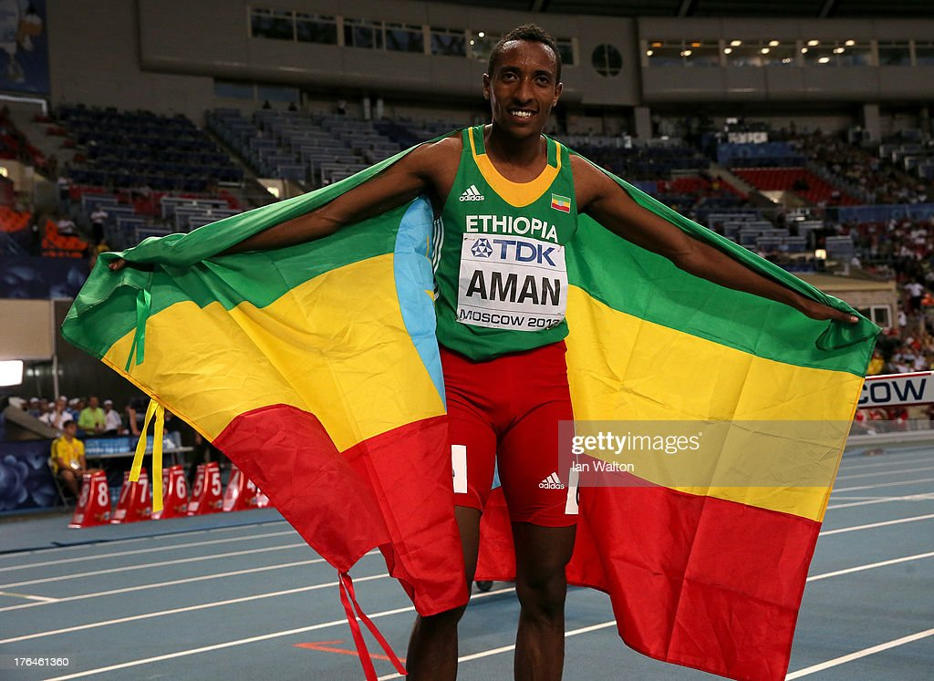 <a gi-track='captionPersonalityLinkClicked' href=/galleries/search?phrase=Mohammed+Aman&family=editorial&specificpeople=7149144 ng-click='$event.stopPropagation()'>Mohammed Aman</a> of Ethiopia celebrates winning gold in the Men's 800 metres final during Day Four of the 14th IAAF World Athletics Championships Moscow 2013 at Luzhniki Stadium on August 13, 2013 in Moscow, Russia.