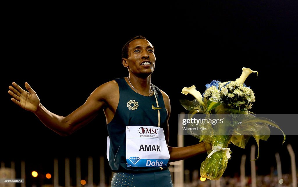 <a gi-track='captionPersonalityLinkClicked' href=/galleries/search?phrase=Mohammed+Aman&family=editorial&specificpeople=7149144 ng-click='$event.stopPropagation()'>Mohammed Aman</a> of Ethiopia celebrates winning the 800m during the 2014 Doha IAAF Diamond League at Qatar Sports Club on May 9, 2014 in Doha, Qatar.
