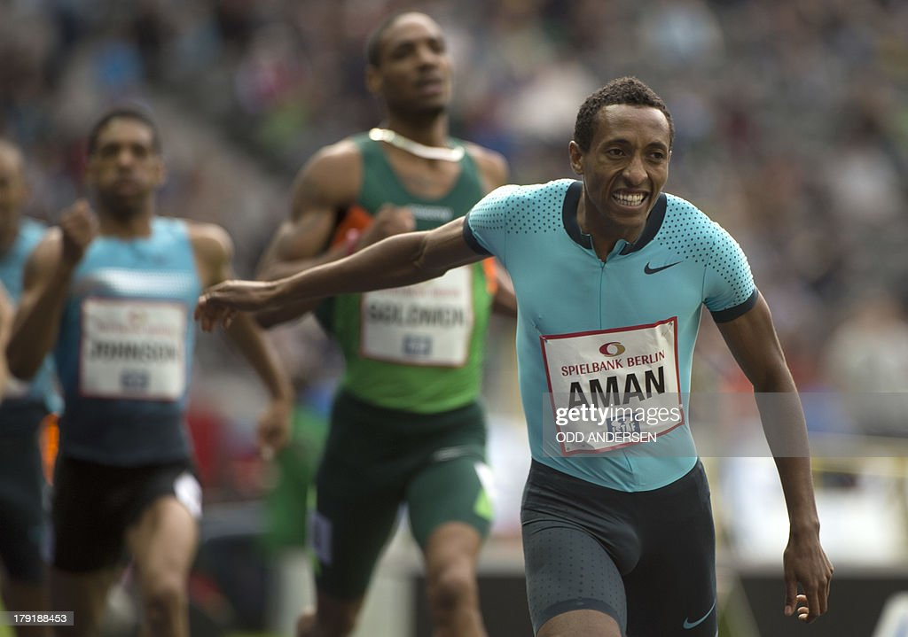 Mohammed Aman of Ethiopia crosses the finish line to win the men's 800 m during the ISTAF (International Stadium Festival) IAAF athletics in the Olympic stadium in Berlin on September 1, 2013.