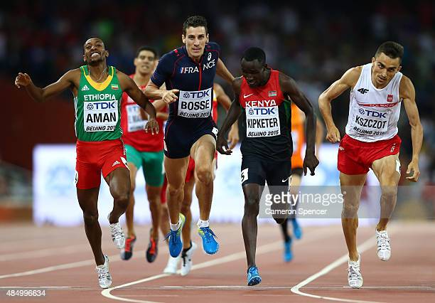 Mohammed Aman of Ethiopia PierreAmbroise Bosse of France Alfred Kipketer of Kenya and Adam Kszczot of Poland cross the finish line in Men's 800...