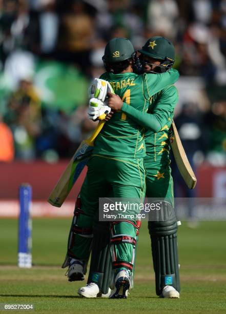 Mohammed Amir and Sarfraz Ahmed of Pakistan embrace after victory during the ICC Champions Trophy match between Sri Lanka and Pakistan at SWALEC...