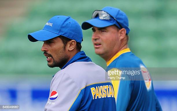 Mohammed Amir of Pakistan and Head Coach Mickey Arthur look on during Day Three of the Tour Match between Somerset and Pakistan at The Cooper...