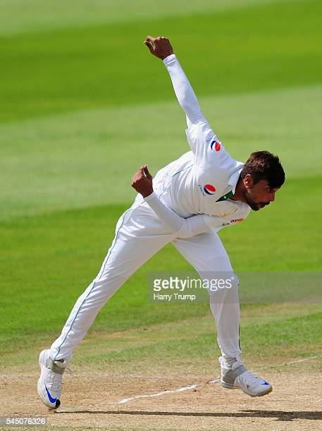Mohammed Amir of Pakistan during Day Three of the Tour Match between Somerset and Pakistan at The Cooper Associates County Ground on July 5 2016 in...