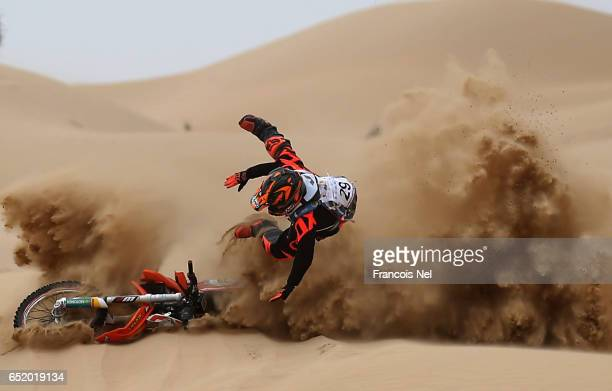 Mohammed Anis of India crashes into the sand during day two of the Dubai International Bajaon March 11 2017 in Dubai United Arab Emirates