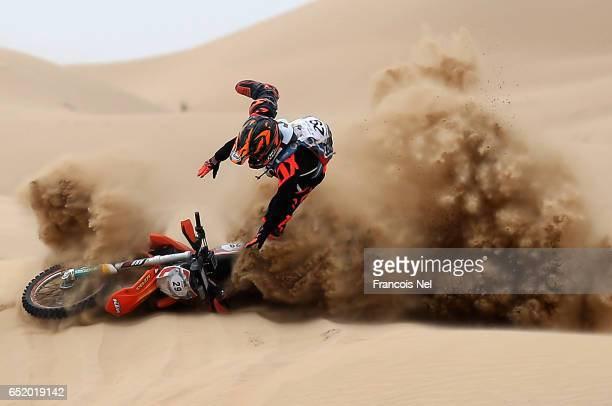 Mohammed Anis of India crashes into the sand during day two of the Dubai International Baja on March 11 2017 in Dubai United Arab Emirates