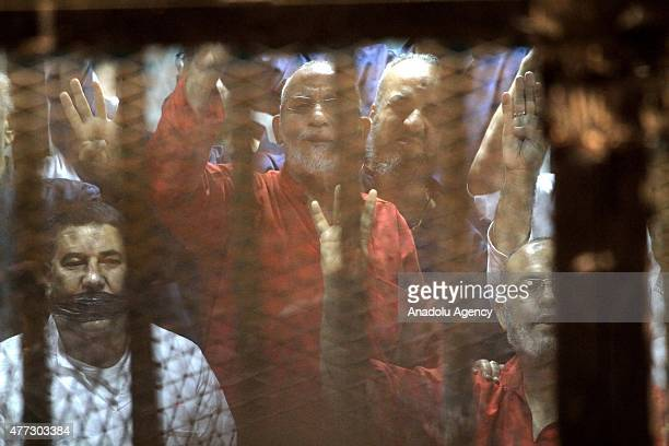 Mohammed Badie Supreme Guide of the Muslim Brotherhood seen inside a cage in the courtroom where he stood trial during espionage case in Cairo Egypt...