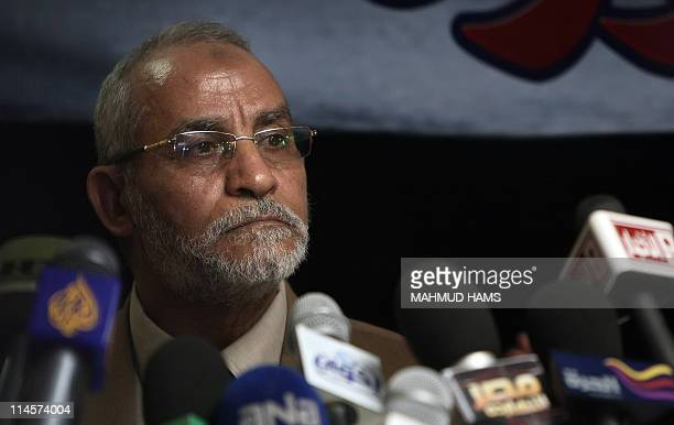 Mohammed Badie the head of Egypt's Muslim Brotherhood speaks during a press conference in Cairo on March 16 2011 Only the powerful Muslim Brotherhood...