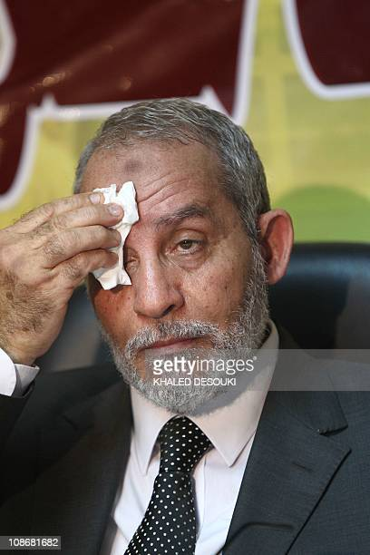 Mohammed Badie the head of Egypt's Muslim Brotherhood wipe his forehead during a press conference about the November 28 parliamentary election in...