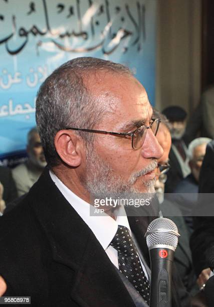 Mohammed Badie the new leader of Egypt's main opposition movement the Muslim Brotherhood addresses a news conference announcing his appointment at...
