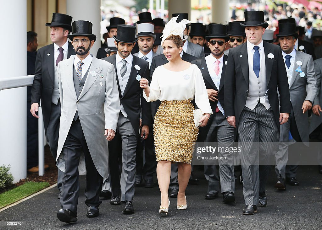 Mohammed bin Rashid Al Maktoum and <a gi-track='captionPersonalityLinkClicked' href=/galleries/search?phrase=Princess+Haya&family=editorial&specificpeople=658825 ng-click='$event.stopPropagation()'>Princess Haya</a> bint Al Hussein attend day four of Royal Ascot 2014 at Ascot Racecourse on June 20, 2014 in Ascot, England.