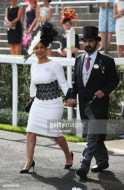 Mohammed bin Rashid Al Maktoum and Princess Haya Bint Al Hussein of Jordan attend day three of Royal Ascot at Ascot Racecourse on June 19 2014 in...