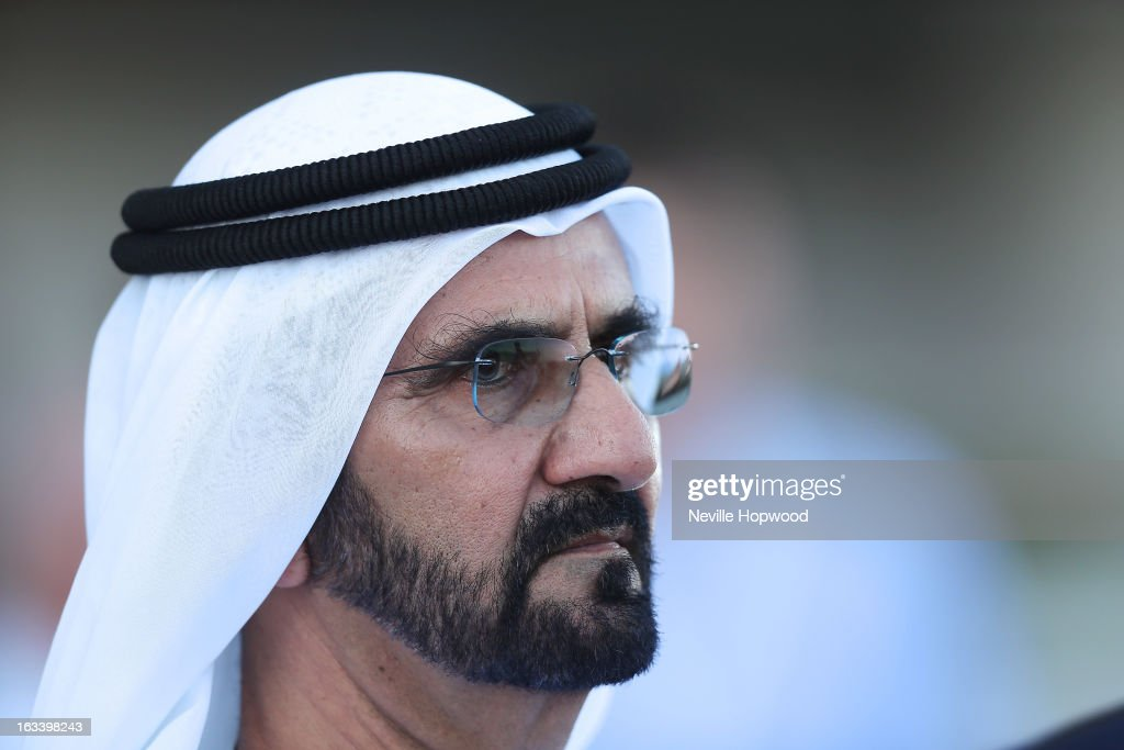 Mohammed bin Rashid Al Maktoum looks on during Super Saturday at Meydan Racecourse on March 9, 2013 in Dubai, United Arab Emirates.