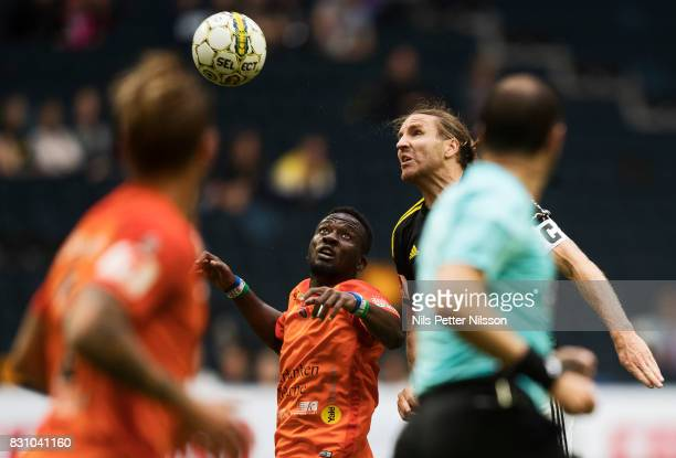 Mohammed Buya Turay of Athletic FC Eskilstuna and NilsEric Johansson of AIK competes for the ball during the Allsvenskan match between AIK and...