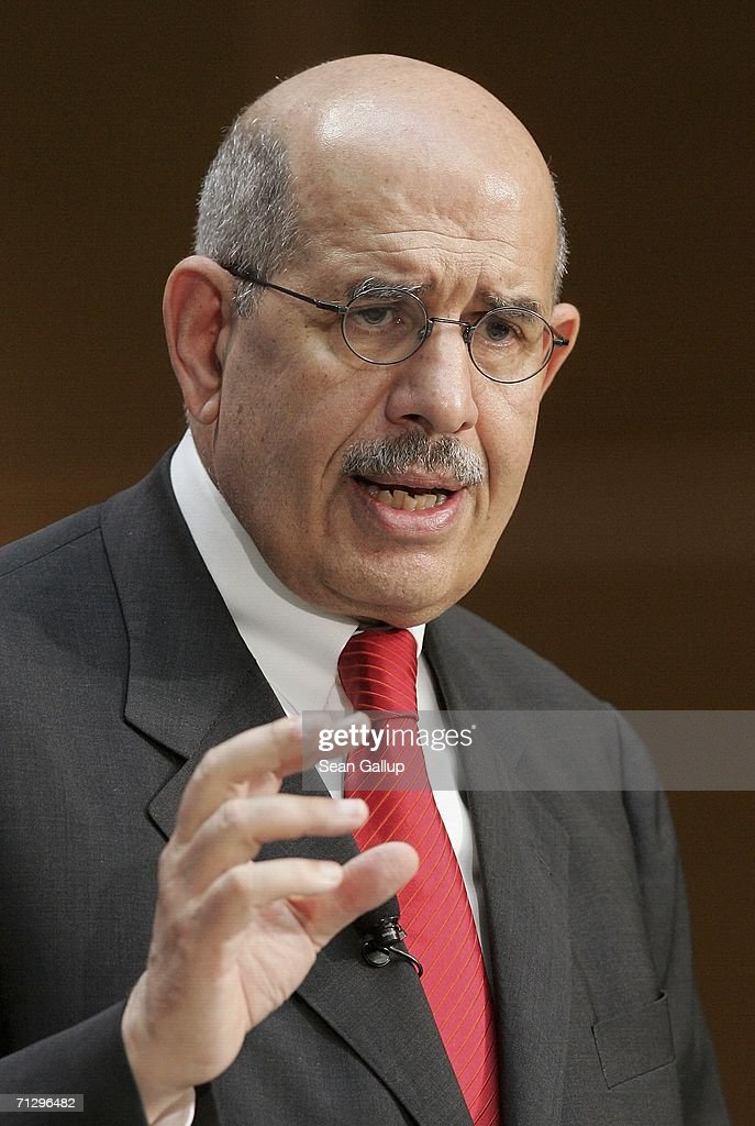 Mohammed El Baradei, head of the International Atomic Energy Agency, speaks at a conference on nuclear disarmament at SPD headquarters June 26, 2006 in Berlin, Germany. El Baradei urged all nations with nuclear weapons to disarm.