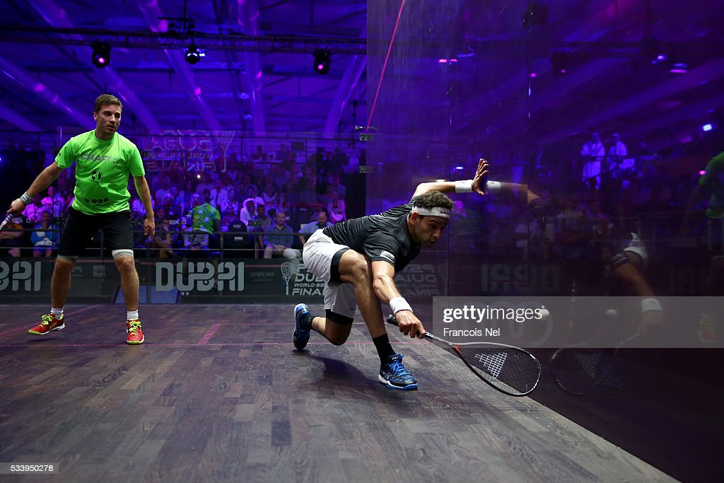Mohammed Elshorbagy of Egypt competes against Mathieu Castagnet of France during day one of the PSA Dubai World Series Finals 2016 at Burj Park on May 24, 2016 in Dubai, United Arab Emirates.