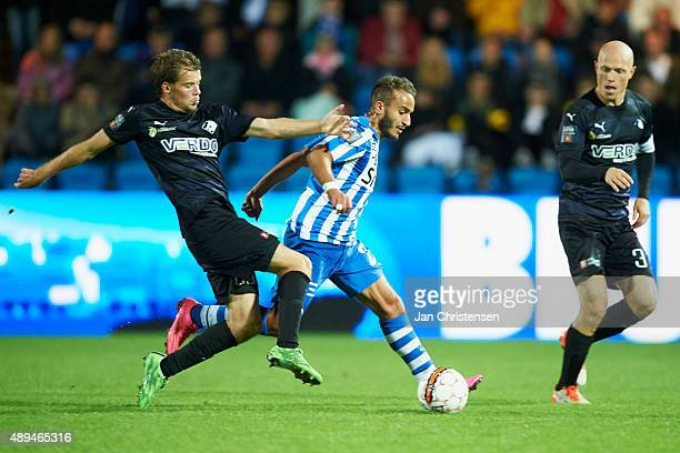 Mohammed Fellah of Esbjerg fB compete for the ball during the Danish Alka Superliga match between Esbjerg fB and Randers FC at Blue Water Arena on...