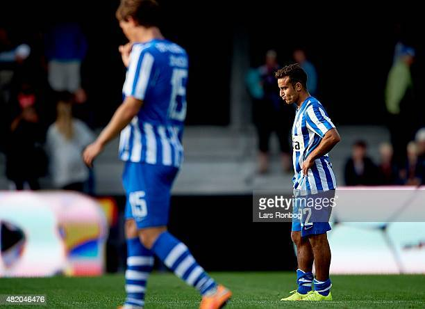 Mohammed Fellah of Esbjerg fB looks dejected after the Danish Alka Superliga match between Esbjerg fB and FC Copenhagen at Blue Water Arena on July...