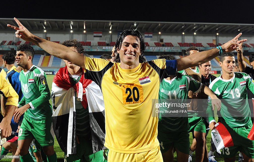 Mohammed Hameed of Iraq celebrates at full-time following the FIFA U20 World Cup Round of 16 match between Iraq and Paraguay at Akdeniz University Stadium on July 03, 2013 in Antalya, Turkey.